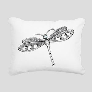 Metallic Silver Dragonfl Rectangular Canvas Pillow