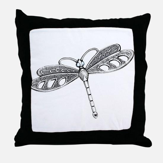Metallic Silver Dragonfly Throw Pillow