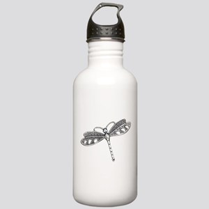 Metallic Silver Dragon Stainless Water Bottle 1.0L