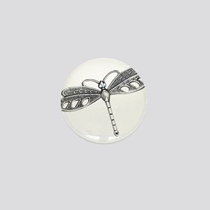 Metallic Silver Dragonfly Mini Button
