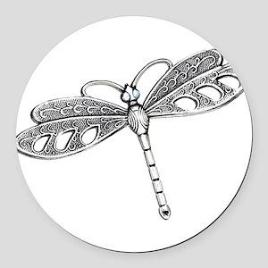 Metallic Silver Dragonfly Round Car Magnet