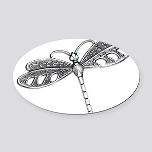 Metallic Silver Dragonfly Oval Car Magnet