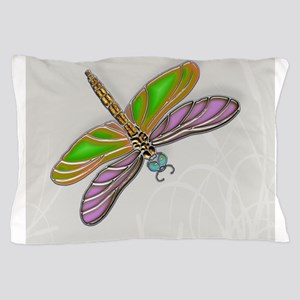 Purple Green Dragonfly in Reeds Pillow Case