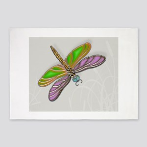 Purple Green Dragonfly in Reeds 5'x7'Area Rug