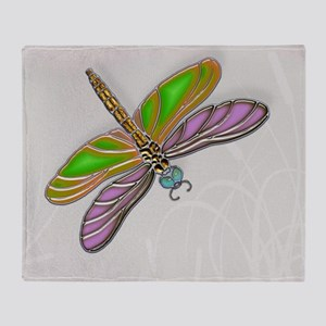 Purple Green Dragonfly in Reeds Throw Blanket