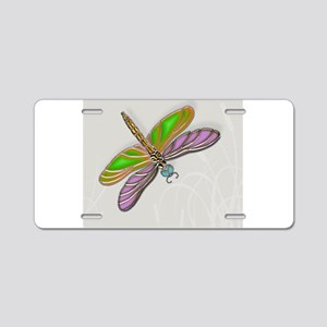Purple Green Dragonfly in Aluminum License Plate