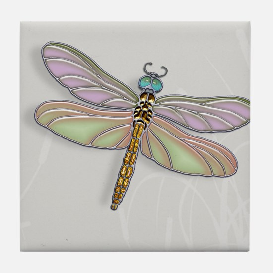 Lavender and Light Green Dragonfly Tile Coaster