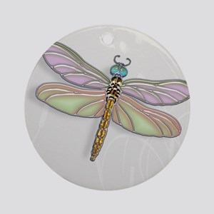 Lavender and Light Green Dragonfl Ornament (Round)
