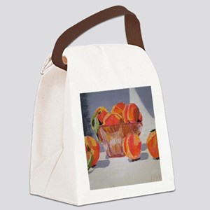 Peaches in Bowl Canvas Lunch Bag