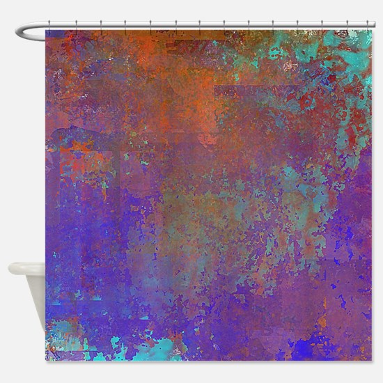 Abstract in Blue, Aqua, Purple, Rus Shower Curtain