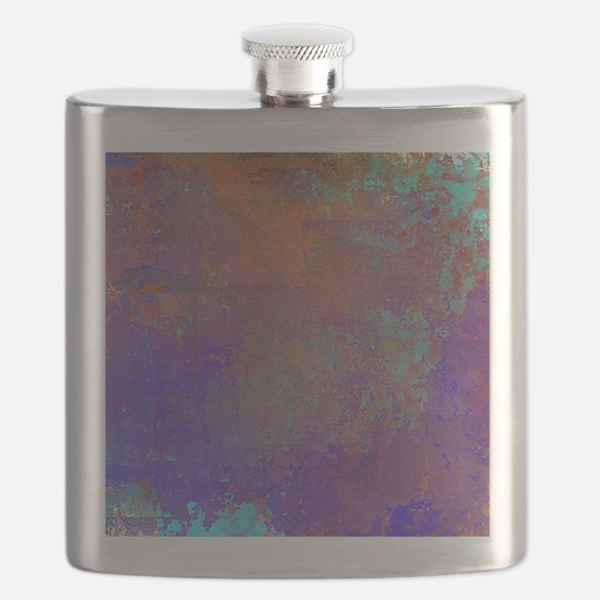 Abstract in Blue, Aqua, Purple, Rust Flask