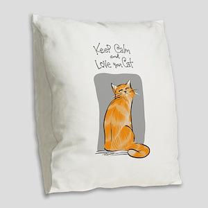 Calm-Orange Kitty Burlap Throw Pillow