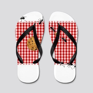 d13458ac222d0 Ant Picnic on Red Checkered Cloth Flip Flops
