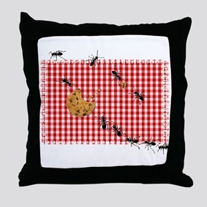Ant Picnic on Red Checkered Cloth Throw Pillow