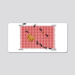 Ant Picnic on Red Checkered Aluminum License Plate