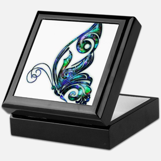 Abalone Shell Art Deco Butterfly Keepsake Box