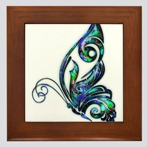 Abalone Shell Art Deco Butterfly Framed Tile