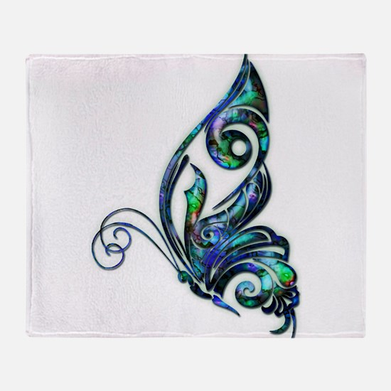 Abalone Shell Art Deco Butterfly Throw Blanket