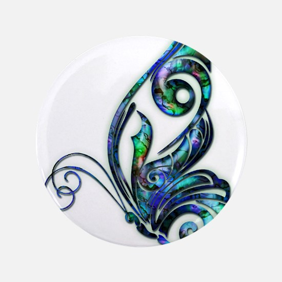 "Abalone Shell Art Deco Butterfly 3.5"" Button"
