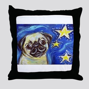 Pug Stars 2 Throw Pillow