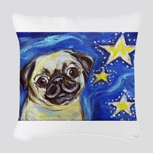 Pug Stars 2 Woven Throw Pillow