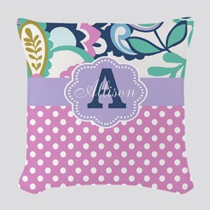 Pink Purple Dots Floral Personalized Woven Throw P