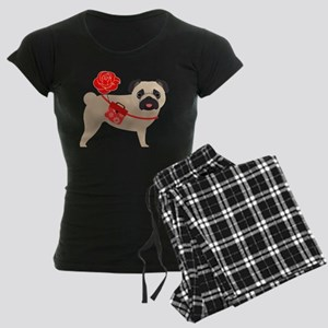 Valentine Pug with Rose Women's Dark Pajamas