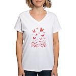 Pink Butterfly Women's V-Neck T-Shirt