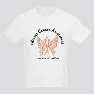 Uterine Cancer Butterfly 6.1 Kids Light T-Shirt