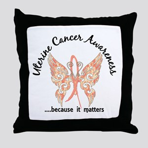 Uterine Cancer Butterfly 6.1 Throw Pillow