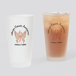 Uterine Cancer Butterfly 6.1 Drinking Glass