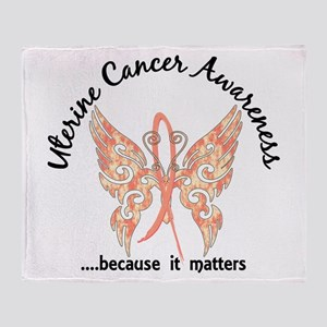 Uterine Cancer Butterfly 6.1 Throw Blanket