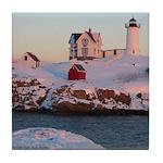 Tile Coaster of Nubble Light, Maine