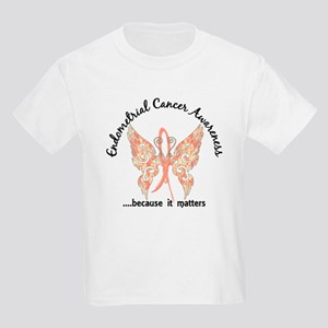 Endometrial Cancer Butterfly 6. Kids Light T-Shirt