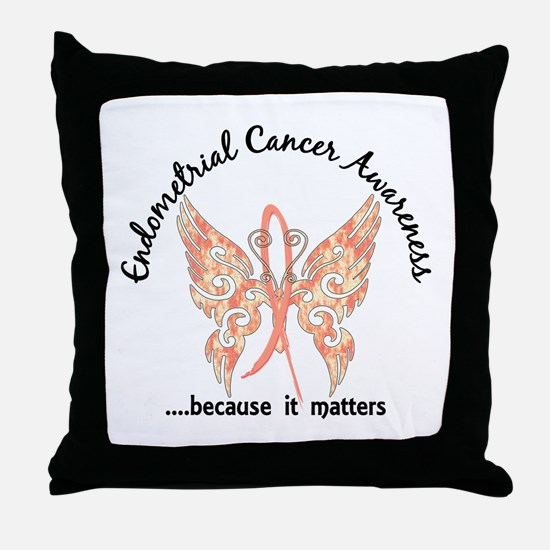 Endometrial Cancer Butterfly 6.1 Throw Pillow