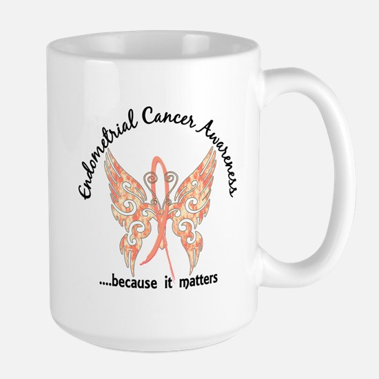Endometrial Cancer Butterfly 6.1 Large Mug