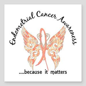 "Endometrial Cancer Butte Square Car Magnet 3"" x 3"""