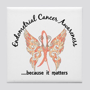 Endometrial Cancer Butterfly 6.1 Tile Coaster