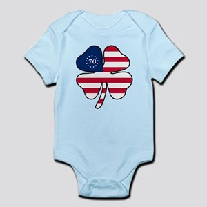 US Flag Clover Infant Bodysuit