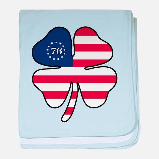 US Flag Clover baby blanket