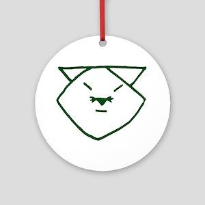 Green Anime Cat Ornament (Round)