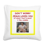 tennis joke Square Canvas Pillow