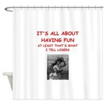 tennis joke Shower Curtain