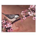 Bird on Dogwood Branch Graphic Art Poster Print