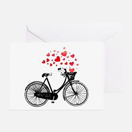 Vintage Bike With Hearts Greeting Cards