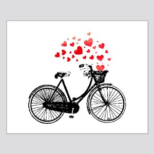 Vintage Bike with Hearts Small Poster