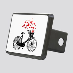 Vintage Bike with Hearts Rectangular Hitch Cover