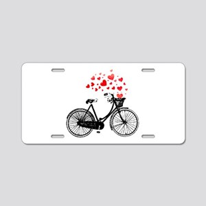 Vintage Bike with Hearts Aluminum License Plate