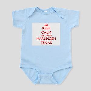 Keep calm we live in Harlingen Texas Body Suit