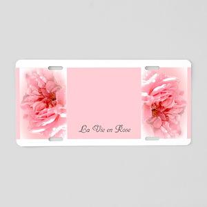 La Vie en Rose Aluminum License Plate